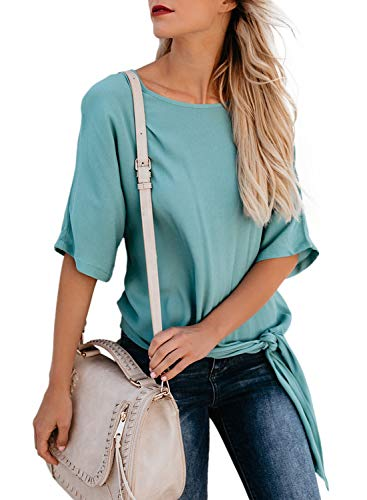 - CANIKAT Women's Fashion Crewneck Short Sleeve Shirts Tie Knot Front Ruffle Flowy Blouses Tee Tops Green XXL