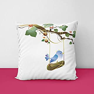 41Sr2lSXijL. SS320 Beatiful Bird's Flower Square Design Printed Cushion Cover