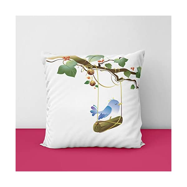 41Sr2lSXijL Beatiful Bird's Flower Square Design Printed Cushion Cover