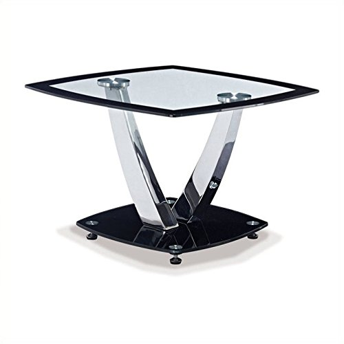 Global Furniture Clear/Black Trim Occasional End Table with Chrome Legs