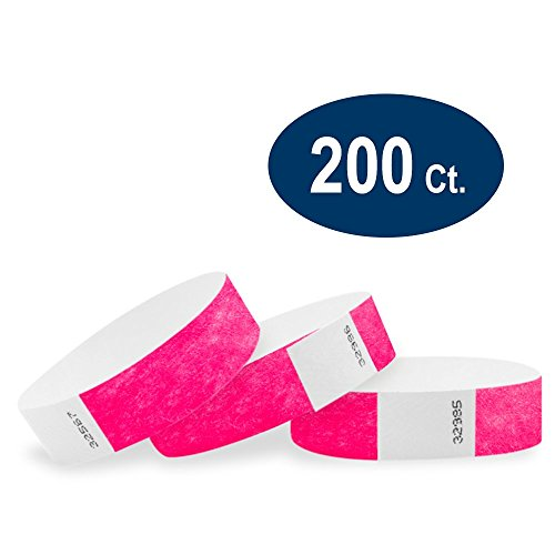 """WristCo Neon Pink 3/4"""" Tyvek Wristbands - 200 Pack Paper Wristbands For Events"""