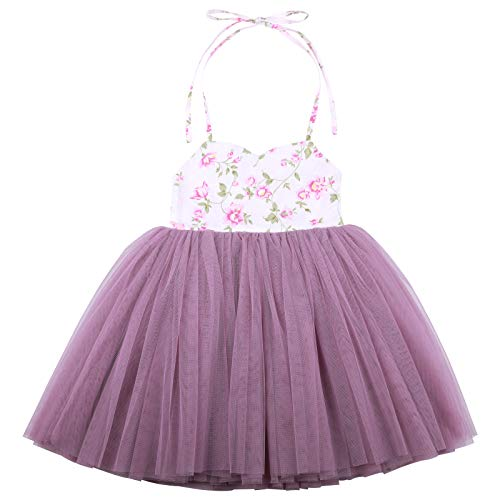 Flofallzique Floral Girls Dress Vintage Purple Tutu Wedding Dancing Party Toddler Clothes for 0-8 Y(5, Purple) ()