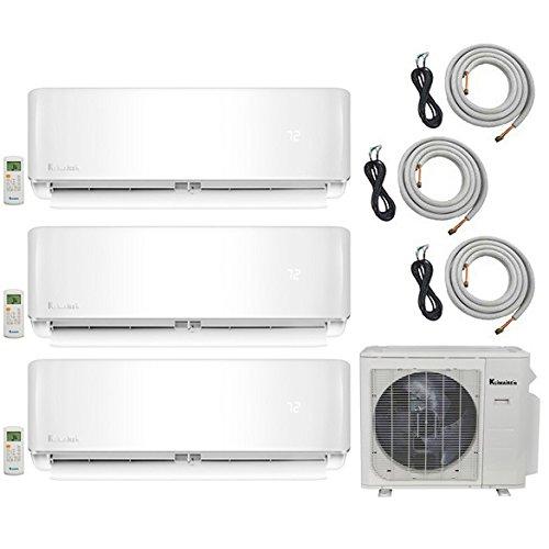 Klimaire 3-Zone (12K BTU + 12K BTU + 12K BTU) 20 SEER Ductless Multi-Zone Inverter Air Conditioner Heat Pump with 16 Ft Installation Kits