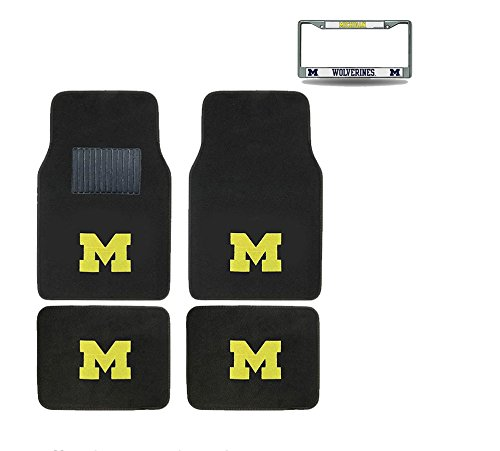 Michigan Wolverines 4 Pc Carpet Floor Mats And Chrome Metal License (Michigan Floor)