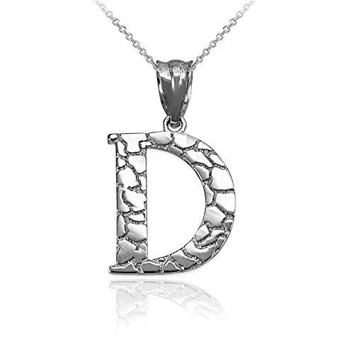 LA BLINGZ Sterling Silver Nugget Initial Letter Alphabet Pendant Necklace (22, Letter D)