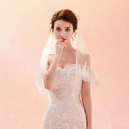 Coda Bianco Copricapo Ragazza Ritagliata Pizzo Ludage nuziale Lungo Sposa Nuova Sposa Morbido Velo 4qwPzxO