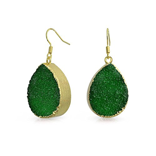 Bling Jewelry Gold Plated Green Druzy Agate Teardrop Dangle Earrings