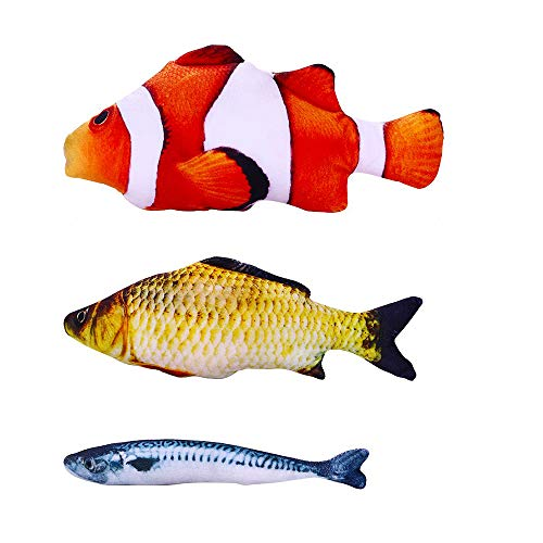 KAILIN Catnip Toys Kitten Toys Cat Toy Fish Plush Fishes Dolls Interactive Pets Pillow Chew Toys for Cats Pet Supplies for Kitty (Clownfish + Squid + Spanish Mackerel)