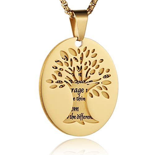 HZMAN Two Piece Serenity Prayer Stainless Steel Pendant Necklace with Tree of Life Cut Out (Gold)