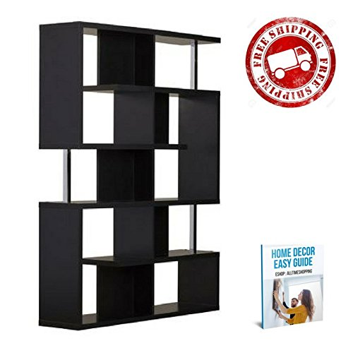 Bookcase Furniture Wood Black Shelves Cube Asymmetrical Modern Bookcase Storage Levels Contemporary Office Organizer Bedroom & eBook by AllTim3Shopping