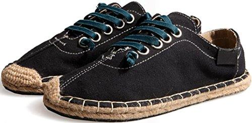 Satuki Tygskor För Män, Tillfälliga Dagdrivare Klassisk Spets Upp Mjuka Atletiska Lätta Mode Sneakers Svart