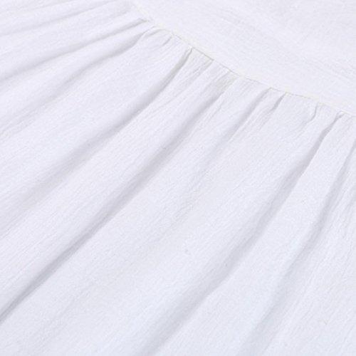 Pure LaChe Jupe Femmes lgant Parties Mini Blanc De ADESHOP Couleur Cocktail FTe Plage Manches Chic Holiday Robe Au Taille IrrGuliRe Mode Grande Femmes Genou Robe T Robe Sans Robe xIadCqw