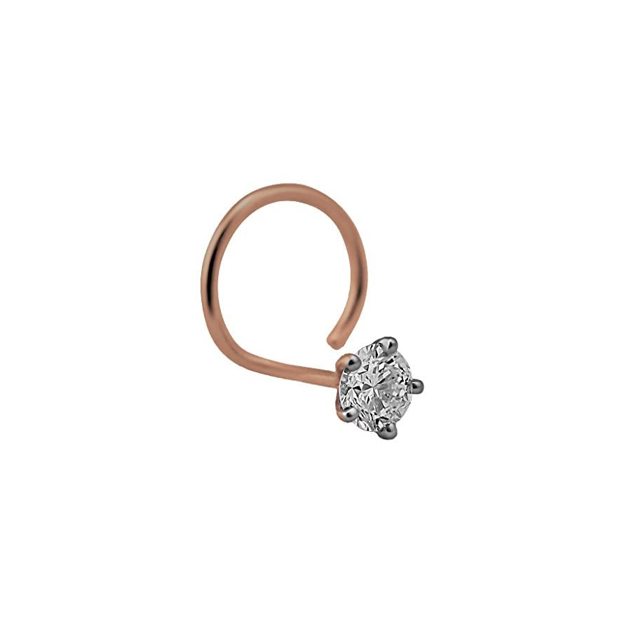2.0mm Round Cut Diamond and 18K Rose Gold Nose Ring/ Pin