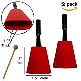 Cowbell on Handle Set of 2 Cowbells With Beater Mallets. Handheld Bell Great For Kids, Or To Use To Make Noise