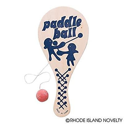 Rhode Island Novelty 9 Inch Paddle Ball, One Dozen: Toys & Games