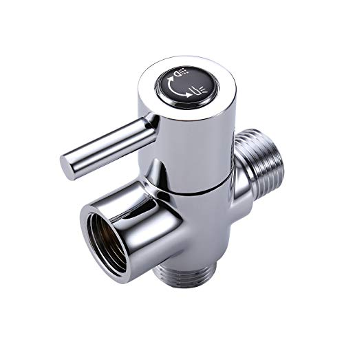 KES SOLID Brass Shower Arm Diverter Valve Bathroom Universal Shower System Component Replacement Part for Hand Held Showerhead and Fixed Spray Head, Chrome, PV14