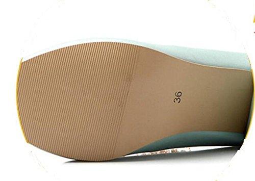 del de XIE pie Zapatos Color Señaló Solos Medio los Las Sólido Escoge BLUE el de los Mujeres Dedo 39 38 Talón Rhinestones Pink El los el axx1Zt