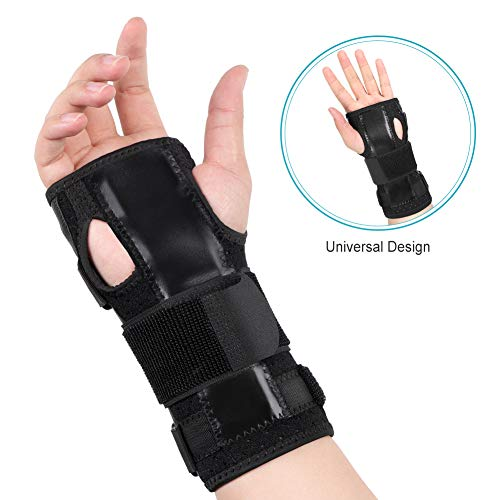 Wrist Brace Carpal Tunnel, Wrist Support Stabilizer Wrist Protector for Left and Right Hand with Removable Splint and Adjustable Elastic Straps for Tendonitis, CTS, Wrist Sprain, Fractures Pain Relief ()