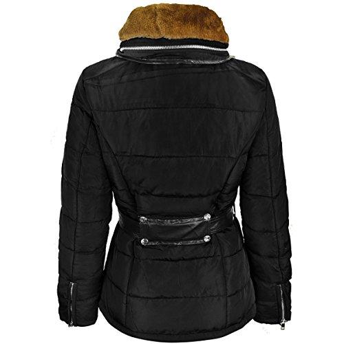 Nuovo Cappuccio Fashion Parka Taglia In Donna Imbottito Piumino Thirsty Invernale Pelliccia Collo Cappotto Nero qRgq7wnz