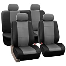 FH-PU002114 Classic PU Leather Car Seat Covers, Airbag compatible and Split Bench, Grey and Black color