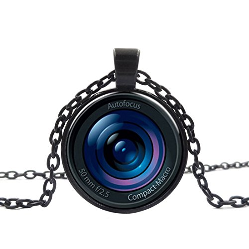 Chees D Zone Glass Cabochon Necklace Auto Focus Cyber Shot Handmade Black Glass Dome Pendant Jewelry Black Cyber Shot
