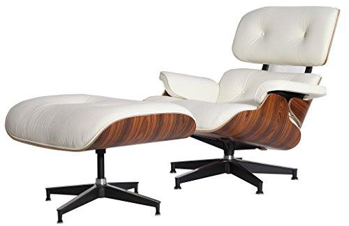 Vitra Set Chair - MLF Reproduction of Eames Lounge Chair & Ottoman High-Elastic Polyurethane Foam Cushions. White/Cream Aniline Leather, 7-ply Palisander Laminated Veneer. Cast Aluminum 5
