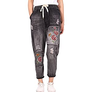 Women's  Distressed  Harem Jeans Floral Embroidered Denim Pants