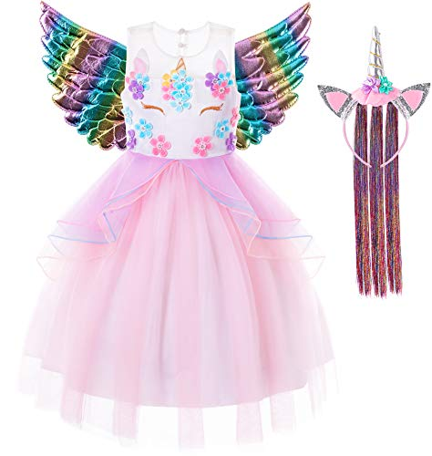 Best Costume For A Halloween Party (FUNNA Unicorn Costume for Girls Toddler Princess Dress Birthday Pageant Party Halloween Costumes, Pink,)