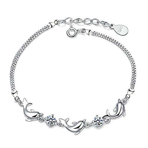 MIXIA Charming Jewelry Cubic Zircon Crystal Dolphin Shaped Chain Woman Silver Color Adjustable Bracelets (White)