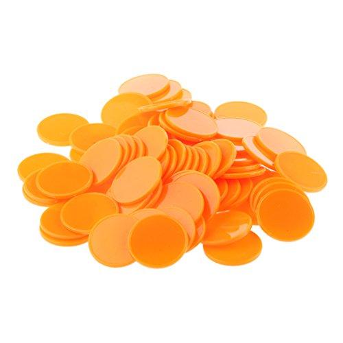 Dovewill 約200個入 25mm カジノ ポーカーチップ パッチ 幼児脳開発 おもちゃ ビンゴチップ  マーカー 家庭/幼稚園 8色選べる  - オレンジ