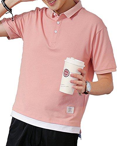 ポロシャツ 夏服 トップス 半袖 ゆったりシャツ poloシャツ 綿100% ゴルフ シャツ ゴルフウェア シンプル 吸汗速乾 快適 カジュアル 薄手 フレキシブル 伸縮性 3釦仕様です 春夏季対応