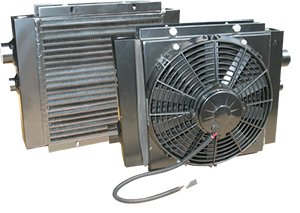 MAXIM MOBILE OIL COOLER WITH FAN AND SHROUD: 45 GPM, 250 PSI, 12 V, SAE #12 Port, Heat Rejection: 21K-26K, 11.73 L X 15.98 W X 6.3 DEPTH, 258529