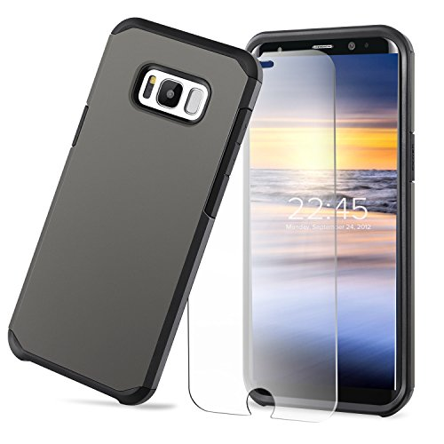 "Galaxy S8 Case Protective Dual Layer Impact Armor Shockproof Heavy Duty Skin Cover Fit for Samsung Galaxy S8 5.8""With 9H 2.5D Glass Protector,Gunmetal"