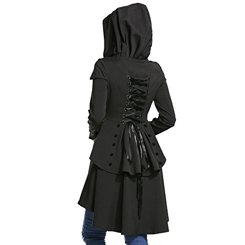 Halloween Coat (Dezzal Women's Long Sleeve Lace Up Back High Low Fit and Flare Hooded Coat (XL, Black))