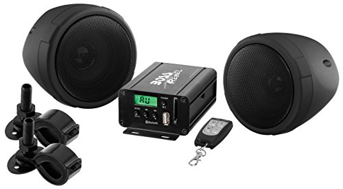 Bluetooth, Weatherproof Speaker And Amplifier Sound System, Two 3 Inch Speakers, Bluetooth Amplifier, Multi-Function Remote Control, Ideal For Motorcycles/ATV and 12 Volt ()