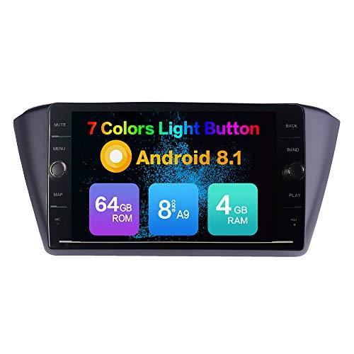KUNFINE Android 8.1 Octa Core 4GB RAM 64GB ROM Car Steoro Multimedia Player Autoradio Headunit for Skoda Fabia 2015-2017 with GPS Radio Bluetooth Calling Steering Wheel Control North America Map
