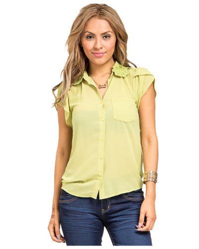 G2 Chic Women's Solid Chiffon Button Down Blouse(TOP-DSY,GRN-M)