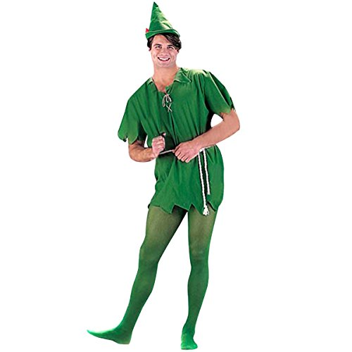 Quesera Unisex Peter Pan Costume Cosplay Peter Pan Tunic Adult Christmas Costume, Green, XS-L (Peter Pan Costume Men)