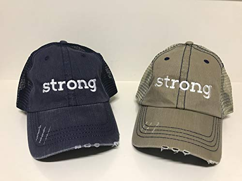 f11886fc Strong Embroidered Distressed Trucker Hat Baseball Caps