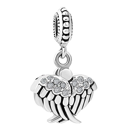 QueenCharms Open Angel Wings Charm Hope Star Beads For Charm Bracelets (Single Charm)