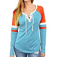 Clearance Women Tops LuluZanm Long Sleeve Loose Tops T-Shirt Fashion V-Neck Patchwork Blouse