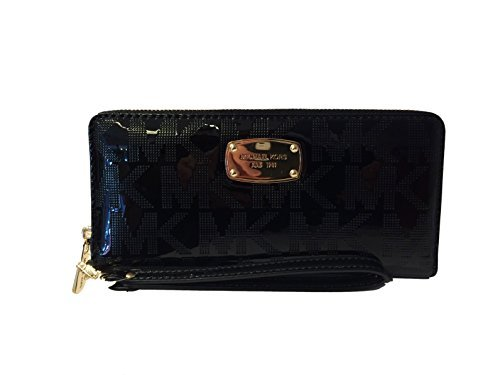 michael-kors-black-jet-set-travel-continental-black-mirror-zip-around-wallet-wristlet