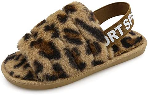 Ehoomely Women's Fluffy Fuzzy Slides Slipper Sandals Leopard Print Soft Warm Comfy Cozy Bedroom House Indoor Outdoor Slippers Sandals with Elastic Strap (Brown Leopard, 5)