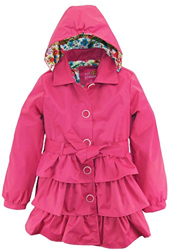 Pink Platinum Big Girls' 3 Tiered Ruffled Trench with Satin Lining, Pink, 10/12