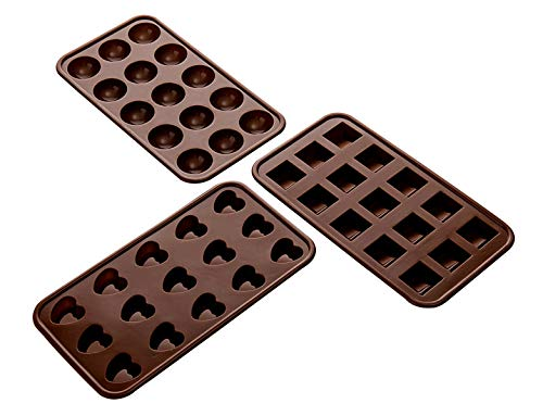 Aokinle Silicone Chocolate Molds,Non-Stick Candy Molds,BPA Free,Mini Ice Tray Molds,Square,Hearts&Round Baking Molds Set of 3