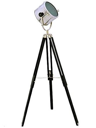 Brass nautical floor light nautical standing studio lamp for Floor standing spotlight lamp