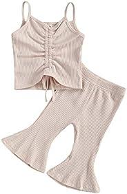 Dcohmch 2Pcs/Set Infant Baby Girls Sleeveless Strap Crop Top Ruffle T-Shirt Flared Pants Bell-Bottoms Summer O