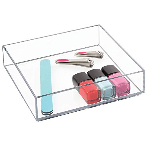 InterDesign Clarity Cosmetic Drawer Organizer for Vanity Cabinet to Hold Makeup, Beauty Products - 8'' x 8'' x 2'', Clear by InterDesign