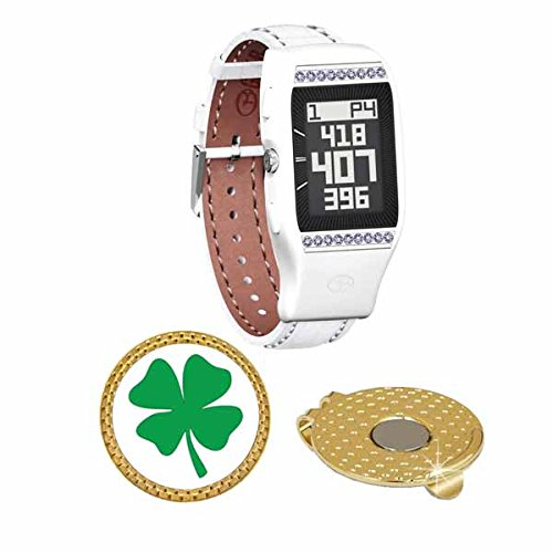 GolfBuddy LD2 Golf GPS/Rangefinder Watch with Swarovski Crystal (40k+ Preloaded Worldwide Courses) Bundle with Magnetic Hat Clip Ball Marker (Four Leaf Clover) by Amba7