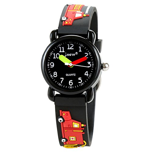 Sun-Team Gift for 3-10 Year Old Boy Kids, 3D Cartoon Waterproof Kids Watch Gifts for Boy Age 3-10 Toy for 3-10 Year Old Boys(Black Fireengine)